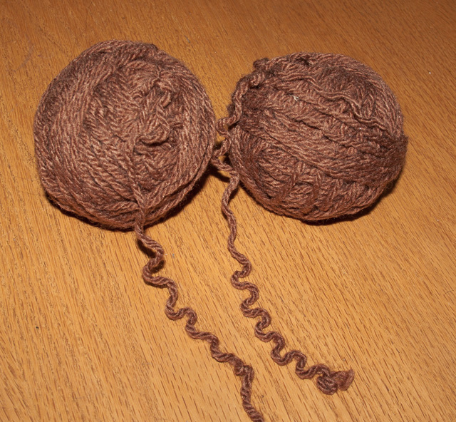 two balls recycled brown yarn