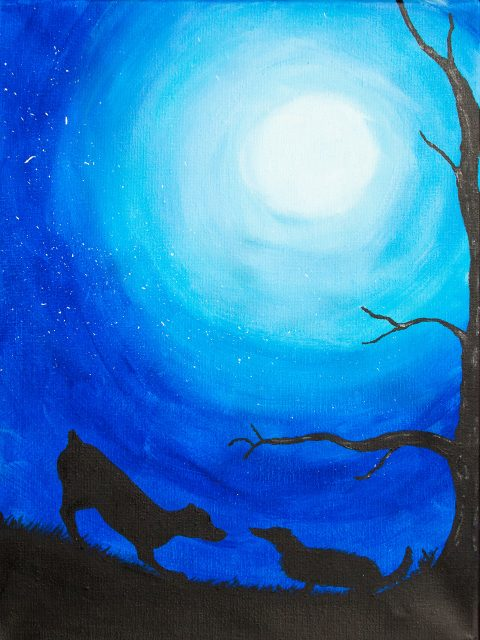 moon, blue sky, black sillouete tree and dogs